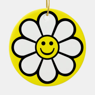 Smiley Daisy Rond Keramisch Ornament
