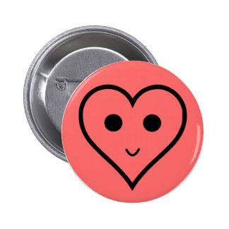 smiley hart ronde button 5,7 cm