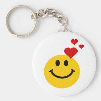Smiley in Liefde Basic Ronde Button Sleutelhanger