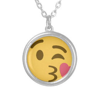 Smiley Kiss Emoji Ketting Rond Hangertje