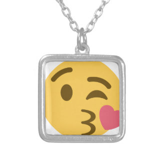 Smiley Kiss Emoji Zilver Vergulden Ketting