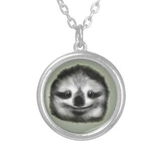 smiley luiaard zilver vergulden ketting