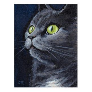 Smokey | Groen Eyed Blauw Grijs Portret van de Kat Briefkaart