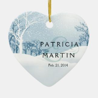 Sneeuw het ijsblauw van het Huwelijk van de Winter Keramisch Hart Ornament