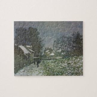 Sneeuw in Argenteuil door Claude Monet, Vintage Legpuzzel