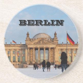Sneeuw Reichstag_001.02 (Reichstag im Schnee) Zandsteen Onderzetter