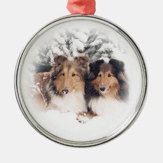 Sneeuw Shelties Zilverkleurig Rond Ornament