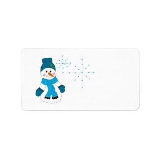 Sneeuwman en Vlokken Etiket