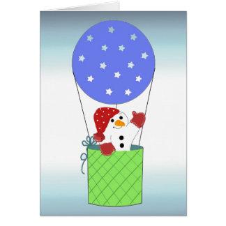 Sneeuwman in een Ballon van de Hete Lucht Wenskaart