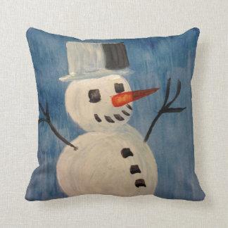 Sneeuwman op Blauw Sierkussen