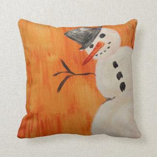 Sneeuwman op Sinaasappel Sierkussen