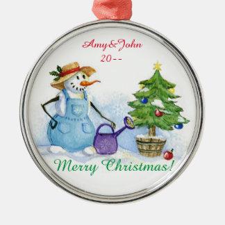 Sneeuwman-tuinman Zilverkleurig Rond Ornament
