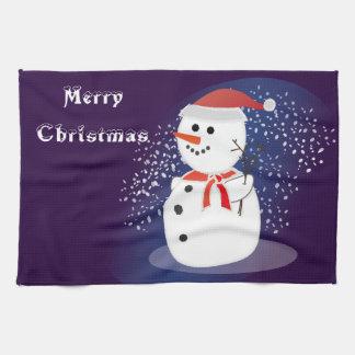 sneeuwman van Kerstmis van de keukenhanddoek de