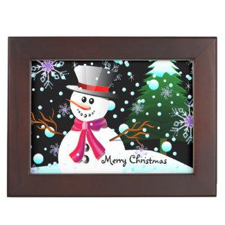 """Sneeuwman """"Vrolijke Kerstmis """" Herinneringen Doosje"""