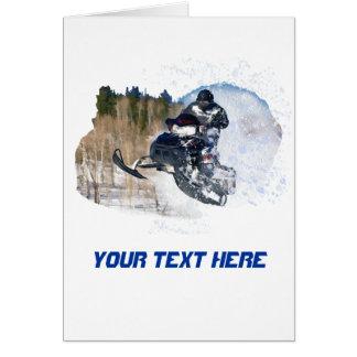 Sneeuwscooter in de lucht briefkaarten 0