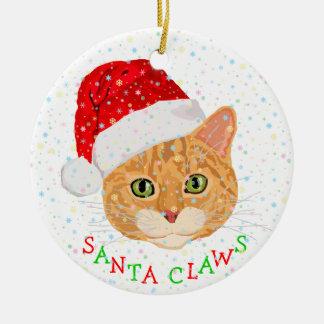 Sneeuwvlokken en Leuke Kat in Kerstmis van het Pet Rond Keramisch Ornament