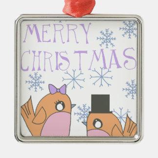 Snoep robins zilverkleurig vierkant ornament