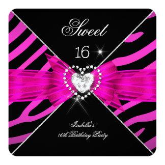 Snoepje 16 Snoepje Zestien Heet Roze Zwart Zebra 2 13,3x13,3 Vierkante Uitnodiging Kaart