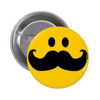 Snor Smiley Ronde Button 5,7 Cm