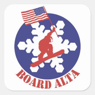 Snowboard Alta Vierkante Sticker