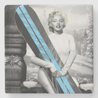 Snowboard van Marilyn Stenen Onderzetter