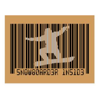 SNOWBOARDER BINNEN Streepjescode Briefkaart
