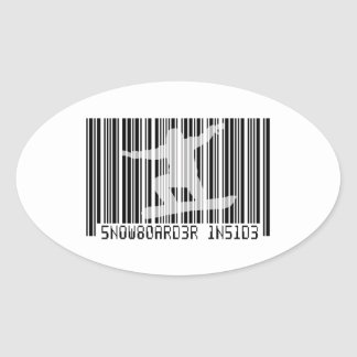 SNOWBOARDER BINNEN Streepjescode Ovale Sticker