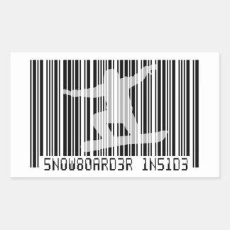 SNOWBOARDER BINNEN Streepjescode Rechthoekige Sticker