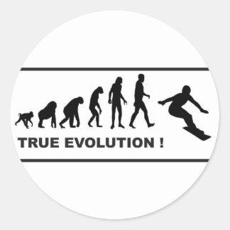 snowboarding evolutie ronde sticker