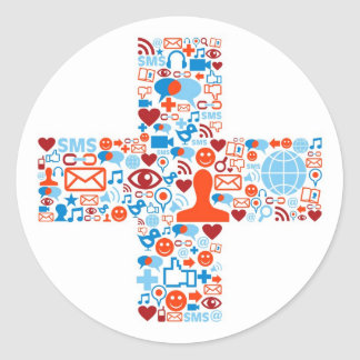 Sociaal plus Vorm Ronde Sticker