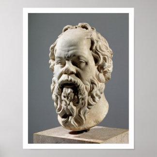 Socrates, marmeren hoofd, exemplaar van een brons  poster