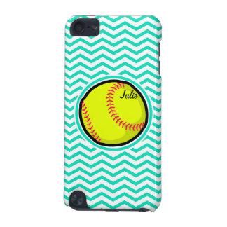 Softball; De Groene Chevron van Aqua iPod Touch 5G Hoesje