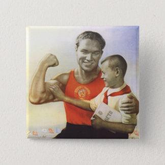 Sovjet Atleet Vierkante Button 5,1 Cm