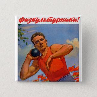 Sovjet Atletische Propaganda Vierkante Button 5,1 Cm