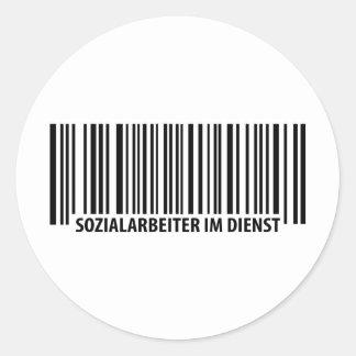 Sozialarbeiter im Dienst streepjescodepictogram Ronde Sticker