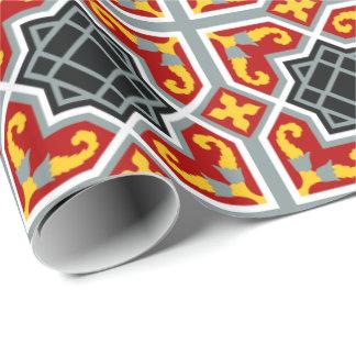 Spaans rood en geel achthoekig patroon inpakpapier