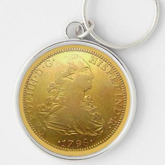 Spaanse Gouden Doubloon van Faux Premie Keychain Zilverkleurige Ronde Sleutelhanger
