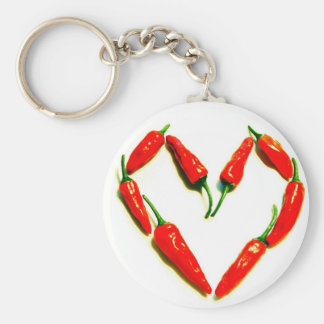 Spaanse pepers hart basic ronde button sleutelhanger