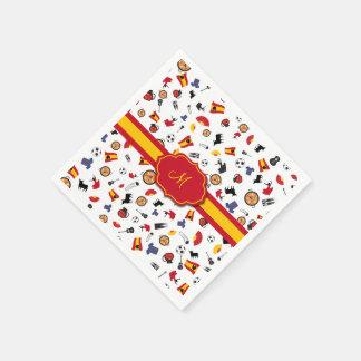 Spaanse punten met vlag om uw monogram toe te wegwerp servetten