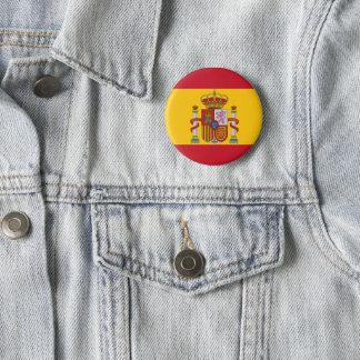 Spaanse vlag ronde button 5,7 cm