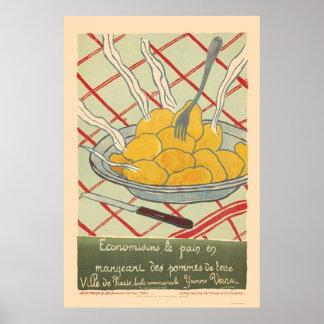 Sparen brood door aardappels te eten - het Frans Poster