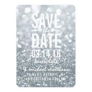 Sparen Datum | schitteren Zilveren Lit Fab 12,7x17,8 Uitnodiging Kaart