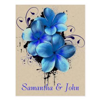 Sparen de Datum - Blauwe Bloemen Briefkaart