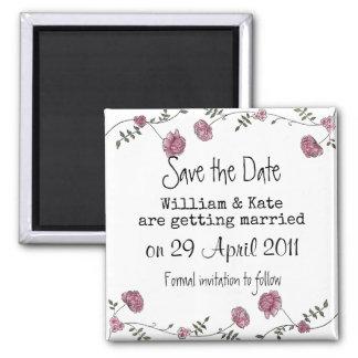 Sparen de datum bloemenmagneet vierkante magneet