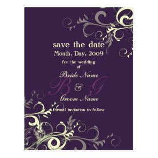 Sparen de Datum, de kleur van de monogramroom Briefkaart
