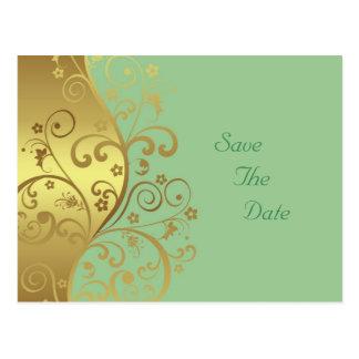 Sparen de Datum--Gouden Wervelingen & Seafoam Briefkaart