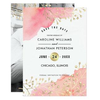 Sparen de Datum. Het Huwelijk Vlakke Photocards Kaart