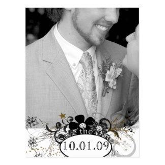 Sparen de Datum met UW Wit en Zwarte van de Foto Briefkaart