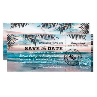 Sparen de Datum steekt het Tropische Strand 10,2x23,5 Uitnodiging Kaart