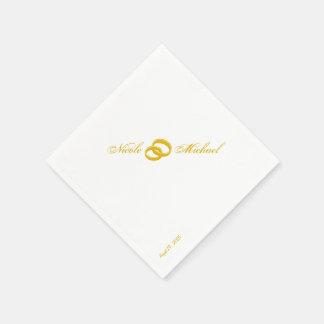 Sparen de Datum - Twee gouden ineengestrengelde Wegwerp Servetten